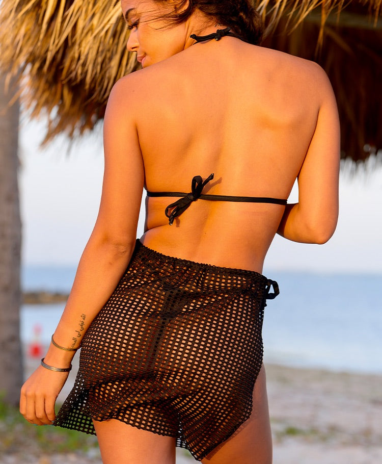 Square lace beach wrap for women in black