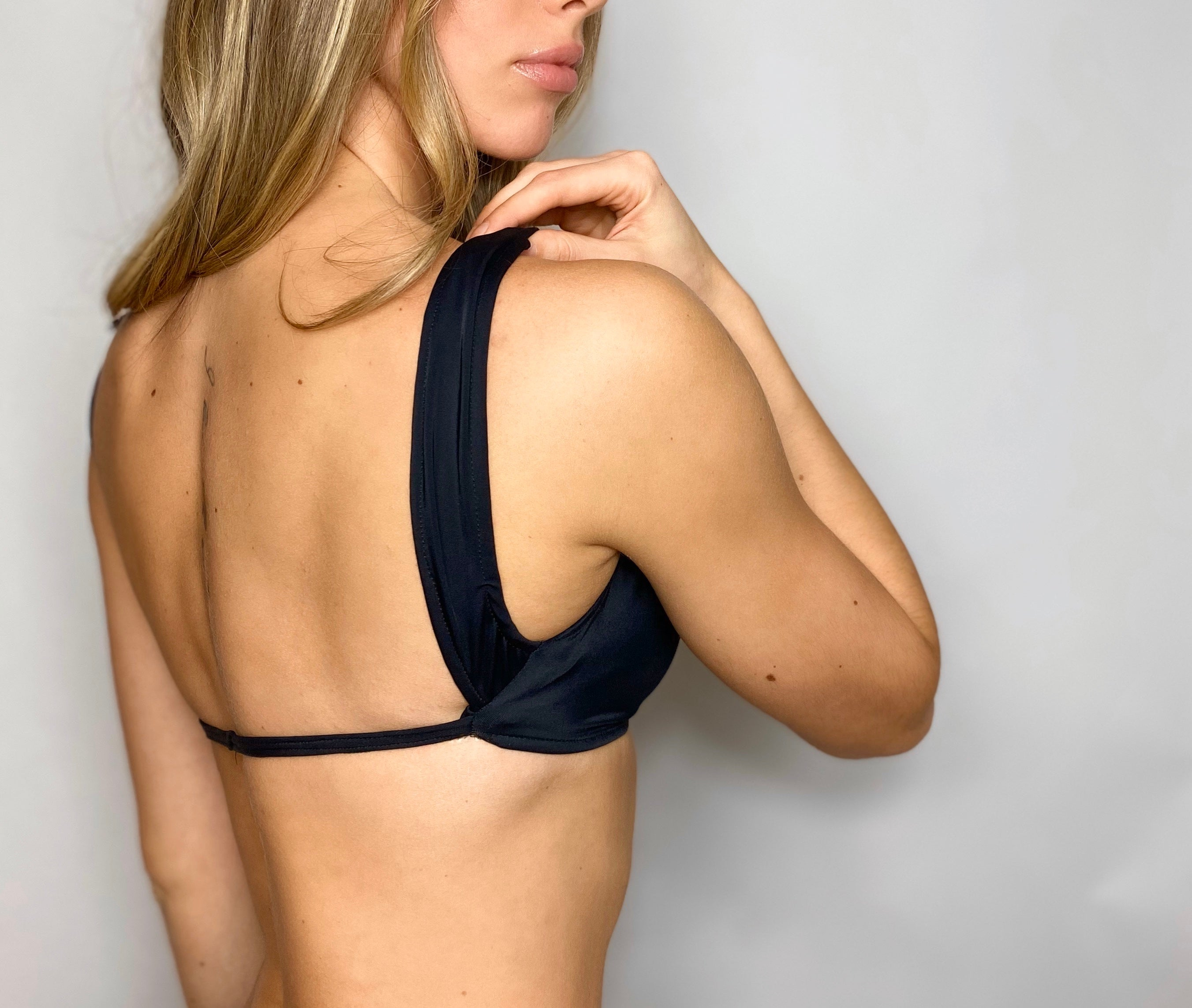 Thick strap over the shoulder bikini top with tie string back in color black