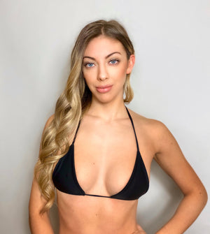 Black triangle bikini top for women, made in Miami