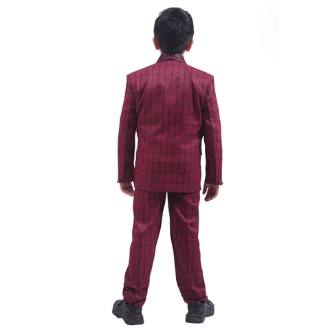 5 Piece Suit/Tuxedo Ultra Premium Party Wear For Boys Colour Maroon