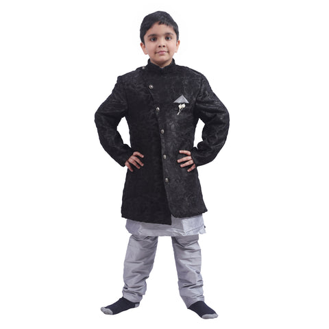Indo Western Party Ocassion Dress For Boys Style 2 Colour Black