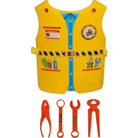 Plastic Role play vest for Kids- Enginner,Yellow-2-7 Years