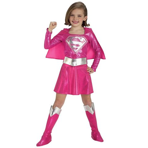 Super girl dress pink party costume for girls