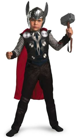 Thor dress for boys with Hammer, cape and head gear- The Avengers costume