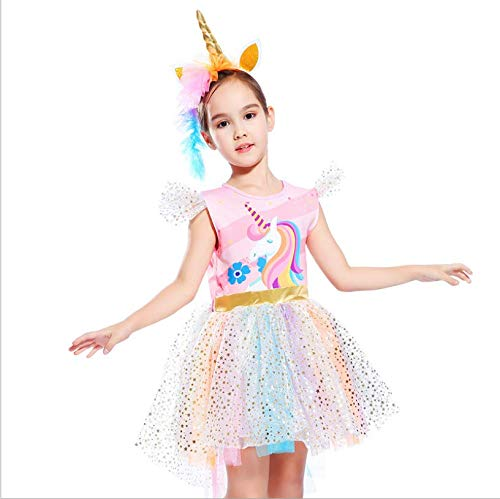 Unicorn Dress with Wings,Headband Princess Costume Birthday Party Outfit Tutu