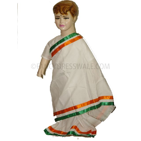 Tri-color saree for Girls - Tiranga costume for Girls for Fancy dress competitions independence day costumes