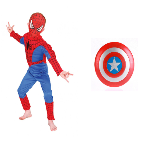 Spiderman dress and Captain America shield Combo- Avenger theme dress and accessory set