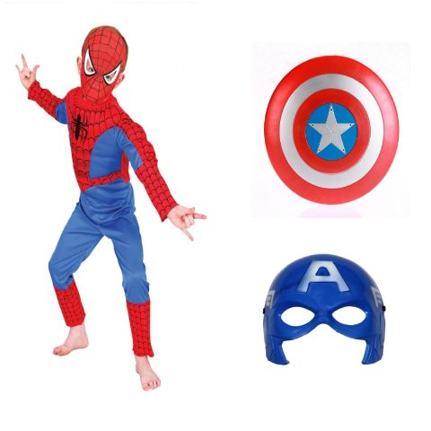 Spiderman dress combo with Captain America Shield and Mask