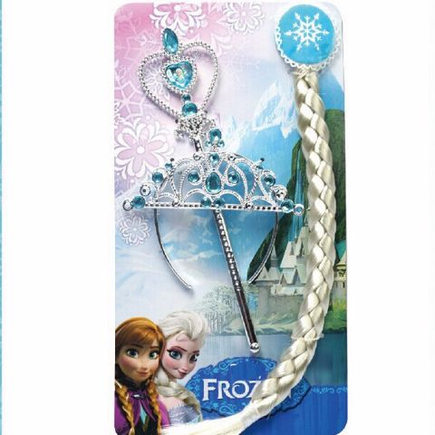 Frozen Elsa Hair accessories KIt 1 Magic Band+1 Wig+1 Crown