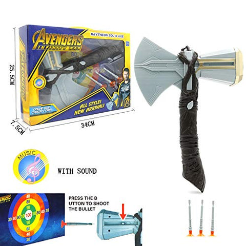 Avengers the Infinity war Thor Storm Breaker Electronic Axe with Shooter and Target Paper (Battery Not Included)