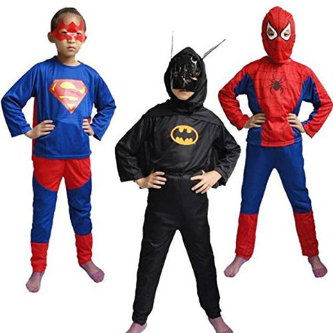 Spiderman Superman and Batman Dress combo for kids