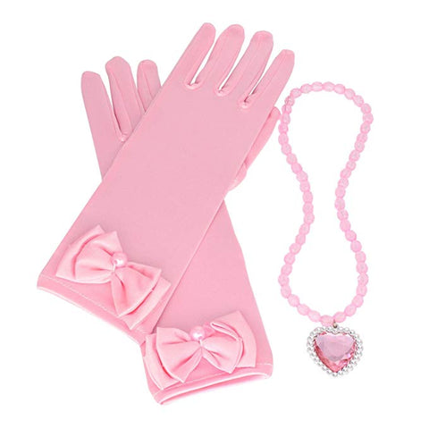 Princess Pink Dress up Accessories Set for Girls with Gloves