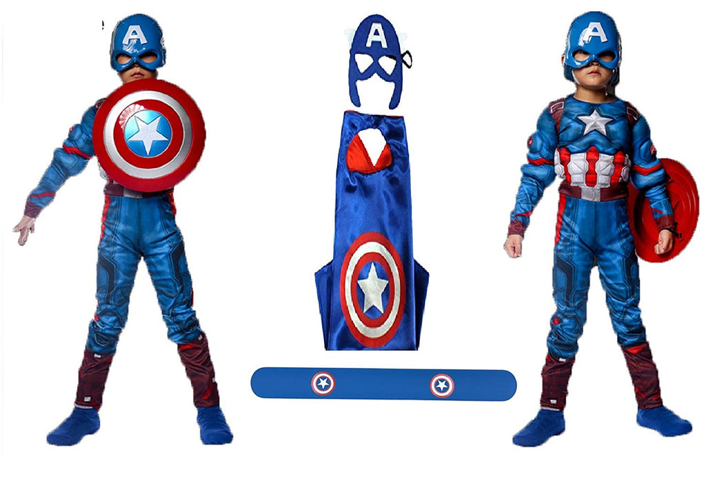 Fancydresswale Captain America Muscle dress with Shield, Cape and Bracelet