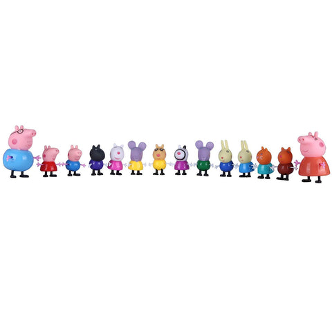 Peppa PVC  Pig Family and Friends forever - Peppa,Mumma, Daddy, George and 10 Friends - Set of 14