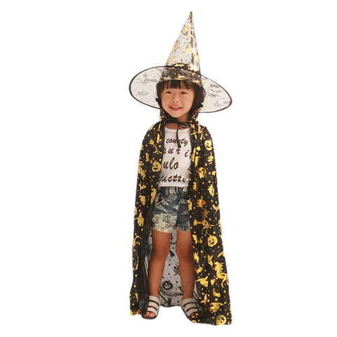 Halloween Cloak Cape Unisex Children Role Play Dress up Costume (Cape & Hat only)-Blue