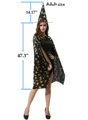 Fancydresswale Halloween Cloak Cape Unisex Adult Role Play Dress up Costume- Black