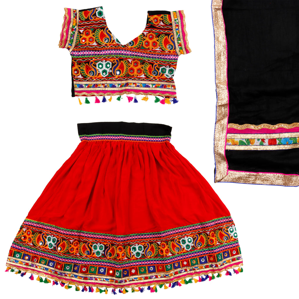 Fancydresswale Girls Full Embroided Ethnic Cotton Lehenga Choli and Dupatta Colour Black Gujrati Girl Navratri Dress