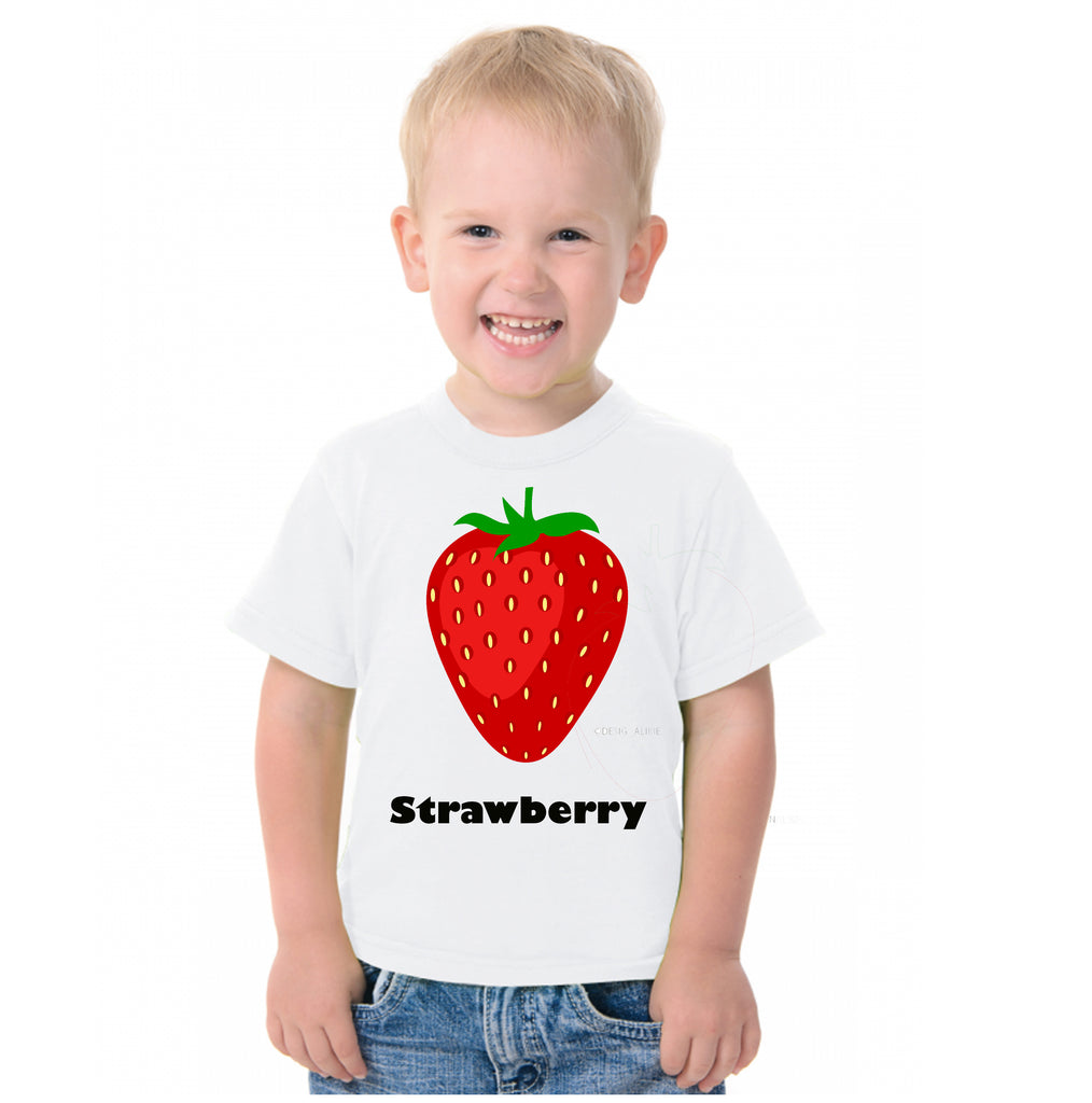 Fruit Theme T-Shirt for Kids Fancy Dress Costume Strawberry