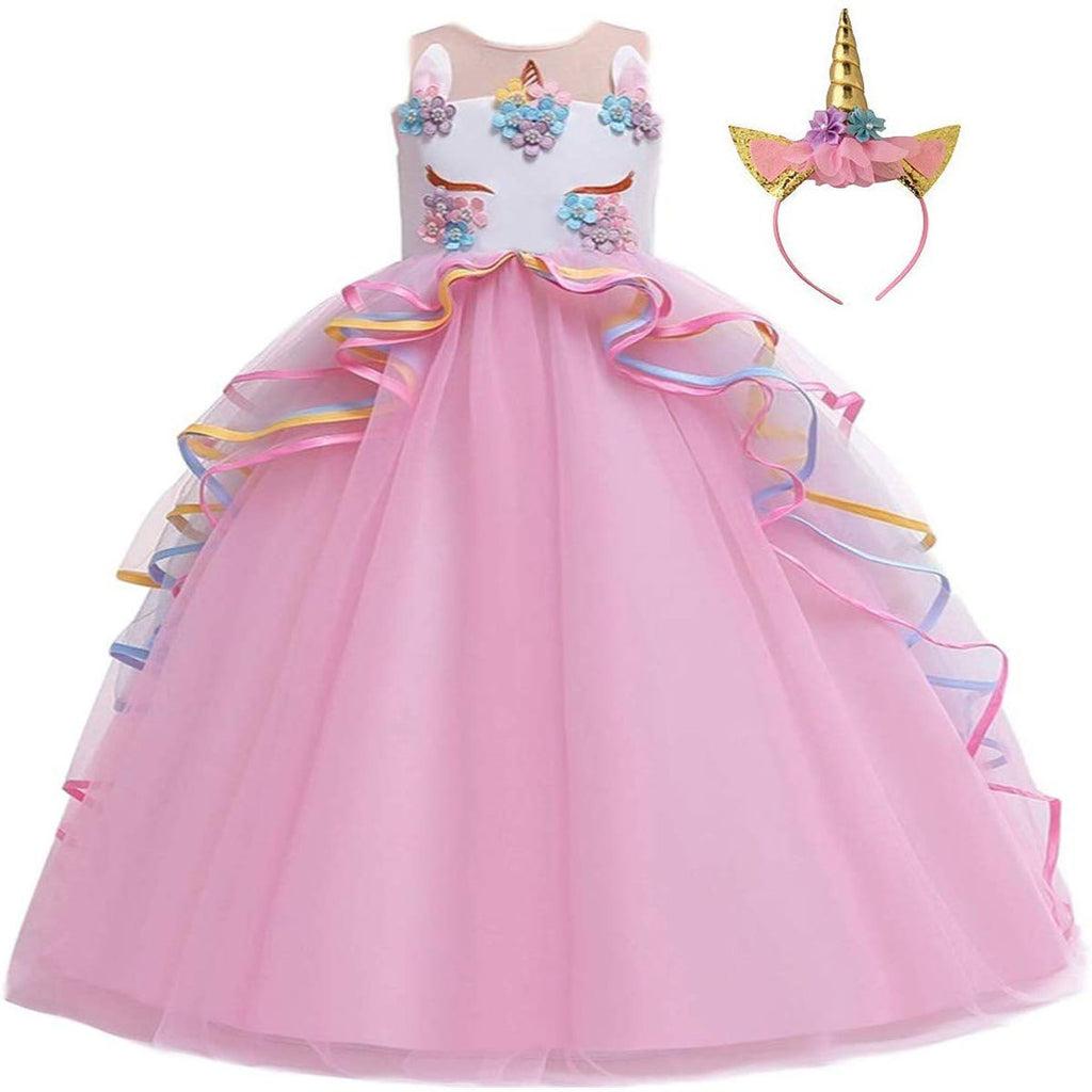 Unicorn Princess Costume Birthday Pageant Party Dance Performance Carnival Long Maxi Tulle Fancy Dress Up Outfits -Pink