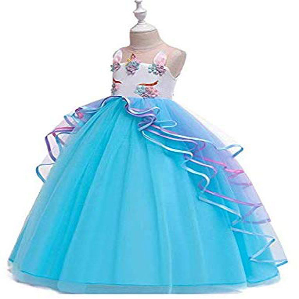 Unicorn Princess Costume Birthday Pageant Party Dance Performance Carnival Long Maxi Tulle Fancy Dress Up Outfits - Blue