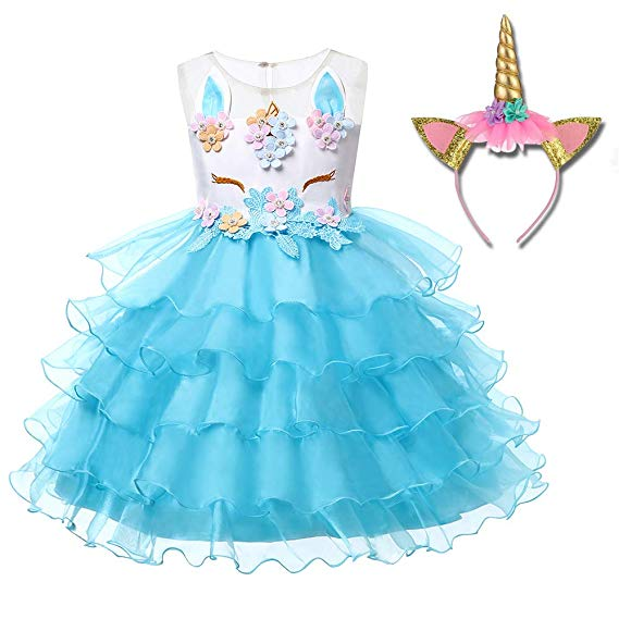 Unicorn Costume Unicorn Party Dresses Princess Costumes for Girls Colour Blue