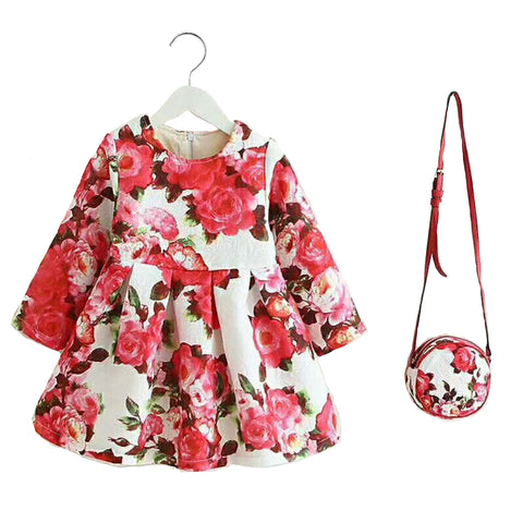 Fancy Girl Baby Print Long Sleeve Dress with Purse Red
