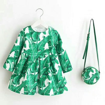 Fancy Girl Baby Print Long Sleeve Dress with Purse Green