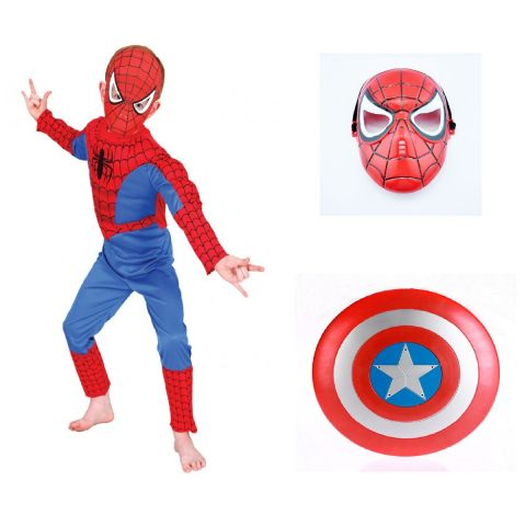 Spiderman dress and Plastic mask with Avenger Captain America Shield