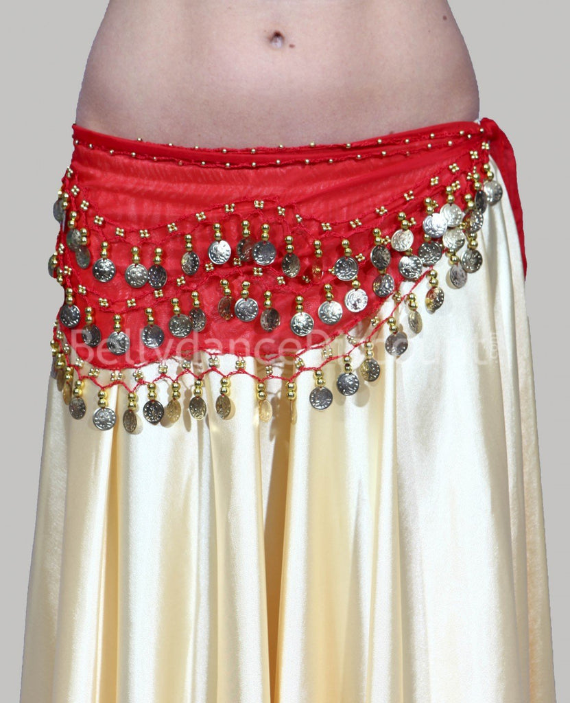 Belly Dance Hip Scarf Waist Belt with Gold Coins for Women and Girls (Red)