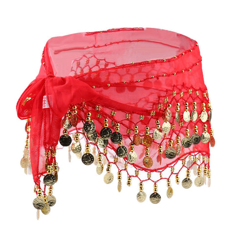 Belly Dance Hip Scarf Waist Belt with Gold Coins for Women and Girls (Pink)