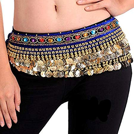Belly Dance Hip Scarf Waist Belt with Gold Coins for Women and Girls (Premium Blue)