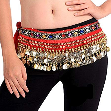 Belly Dance Hip Scarf Waist Belt with Gold Coins for Women and Girls (Premium Red)