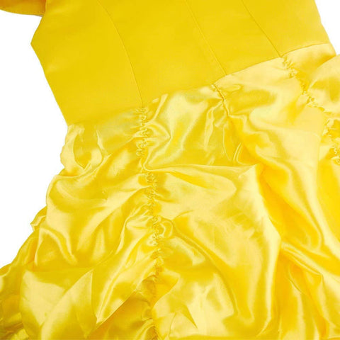 Belle Princess Dress Off Shoulder Layered Costume for Girls Yellow
