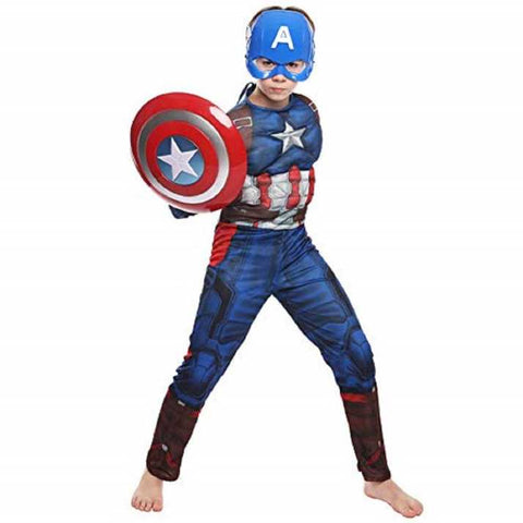 Fancydresswale Captain America Muscles Costume With Mask