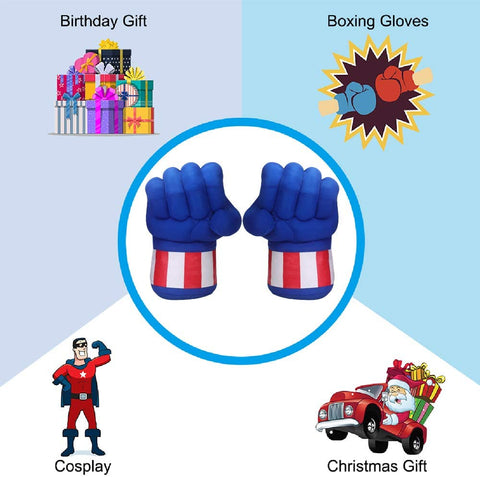 Capptain America Smash Hands, 1 Pair of Soft Boxing Gloves Fist Hand Plush Incredible Costume for Kids and Adult Gifts