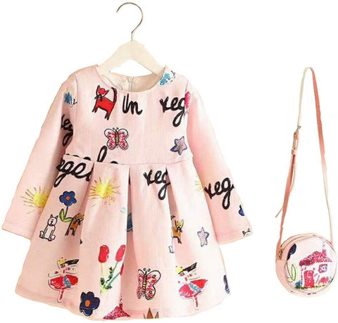 Fancy Girl Baby Print Long Sleeve Dress with Purse champagne