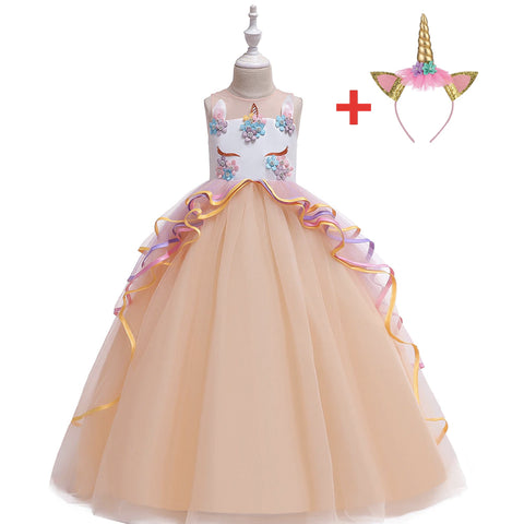 Unicorn Princess Costume Birthday Pageant Party Dance Performance Carnival Long Maxi Tulle Fancy Dress Up Outfits -Orange
