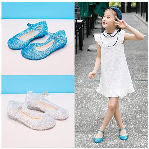 Facydresswale Frozen Princess Girls Sandals Dance Party Cosplay Jelly Shoes Sandals for Toddler Kids