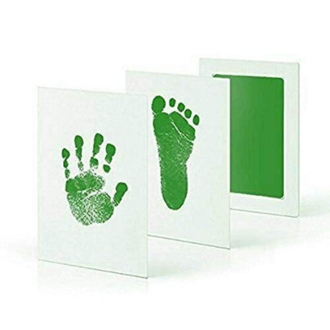 Fancydresswale Inkless 0-12 Months for Baby Handprint and Baby Footprint Ink Pad with Imprint Cards 100% Non-Toxic & Mess Free Safe for Newborn Baby and Toddlers (Green, 0-12 Months)