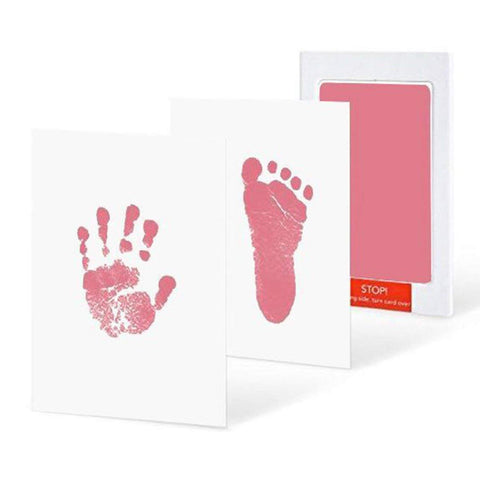 Fancydresswale Inkless 0-12 Months for Baby Handprint and Baby Footprint Ink Pad with Imprint Cards 100% Non-Toxic & Mess Free Safe for Newborn Baby and Toddlers (Pink, 0-12 Months)