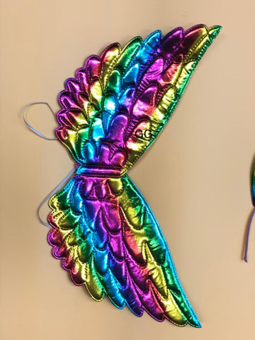 FancyDressWale Unicorn Dress Rainbow Skirt with Wing and Head Band (Free Size 3-7 Years)