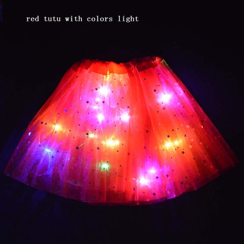 FancyDressWale Unicorn Red Tutu LED Skirt and Top Birthday Dress for Girls-B2