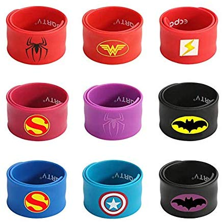 Superhero Slap Bracelet for Kids Boys & Girls Birthday Party Supplies Favors Mix Super Heroes Pack of 9