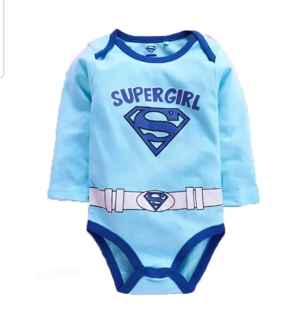 Fancydresswale Super girl blue Romper for Infants and Newborns Girls