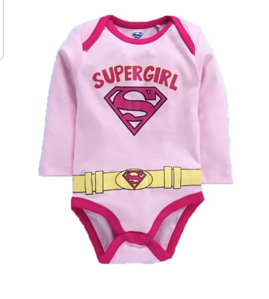 Fancydresswale Super girl Pink Romper for Infants and Newborns Girls