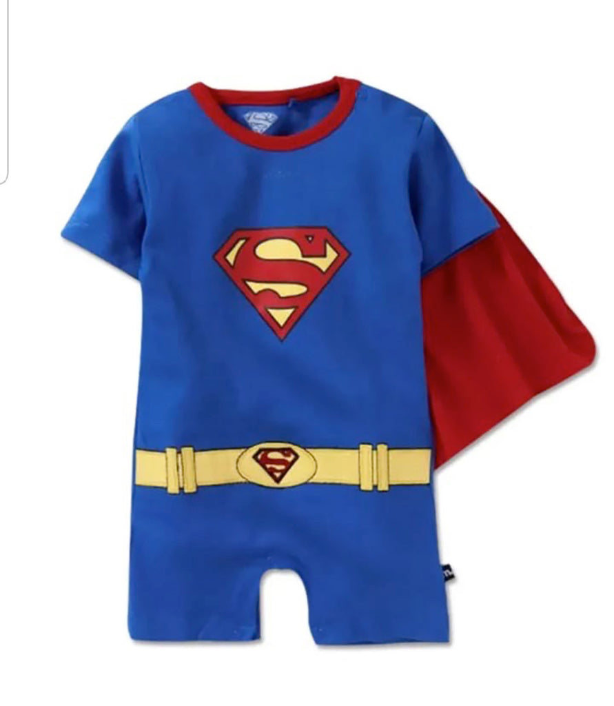 Fancydresswale Superman superhero Romper with attached Cape for Infants and Newborns Boys