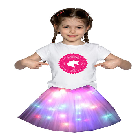 FancyDressWale Unicorn Pink Tutu LED Skirt and Top Birthday Dress for Girls-A7