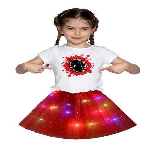 FancyDressWale Unicorn Red Tutu LED Skirt and Top Birthday Dress for Girls-B3