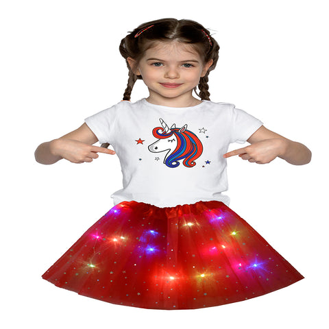 FancyDressWale Unicorn Red Tutu LED Skirt and Top Birthday Dress for Girls-B8