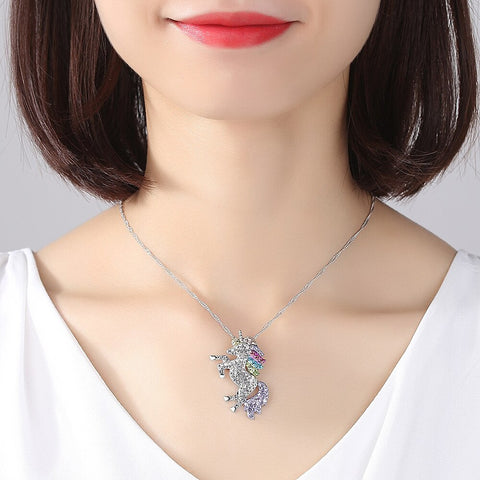 Fancydresswale Unicorn Pendant Necklace Jewelry for Women Girls Lover Gifts Daughter Loved Necklace 18+2.4 inch Chain